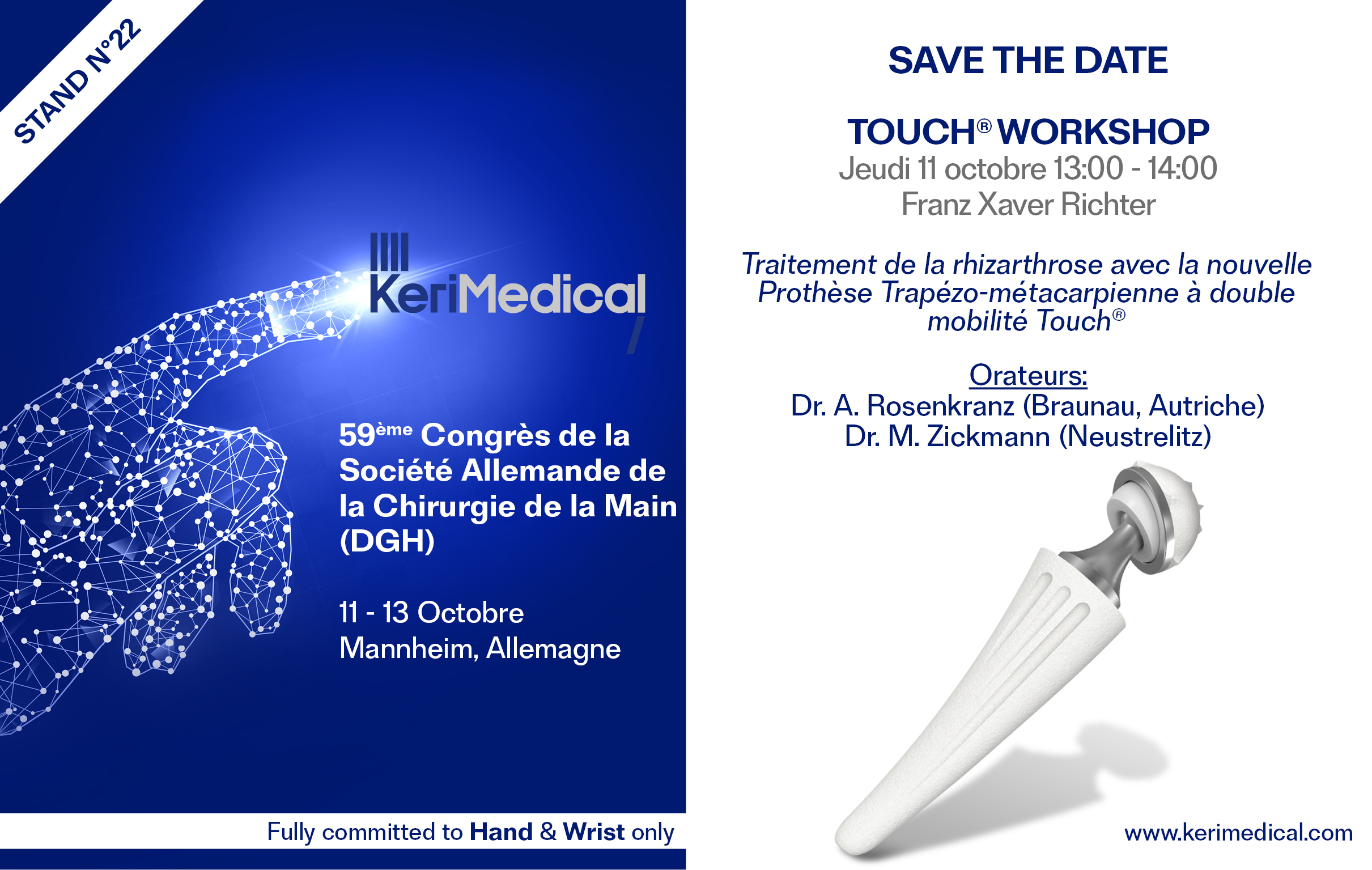 59ème Congrès de la Société de la Chirurgie de la Main, DGH